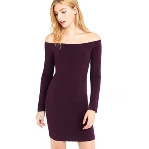 Express Plum purple off shoulder body con dress M